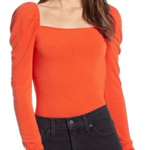 Something Navy Square Neck Long Sleeve Top